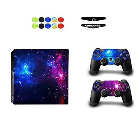 Skin for PS4 Pro, Chickwin Skin Design Folie Aufkleber Sticker schützende Haut Schale für Sony Playstation 4 Pro Konsole und 2 Dualshock Controller+ 10 pc Silikon Thumb Grips + 2pc zufällig Light Bar (Star Blau)