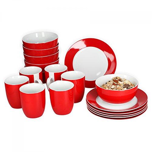 farbige teller Van Well Frühstücksset 18-tlg. für 6 Personen Serie Vario Porzellan - Farbe wählbar, Farbe:rot