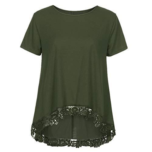 iHENGH Damen Top Bluse Bequem Lässig Mode T-Shirt Frühling Sommer Blusen Frauen beiläufige Oansatz Kurzarm lose Spitze Patchwork Tops Tunika(Armeegrün, ()