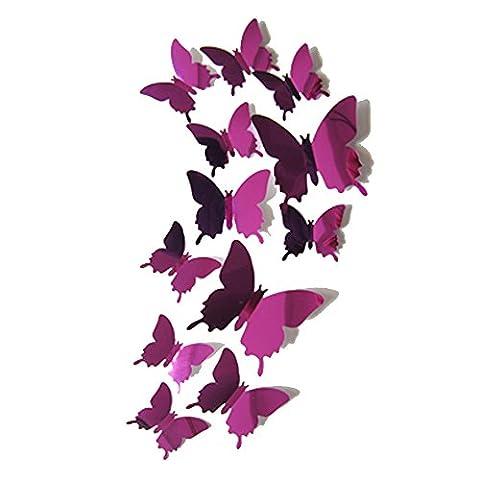 Alxcio 12 Pieces PVC 3D Papillon Sticker Mural Autocollants Bricolage Papillon Stickers Muraux de Papillons Adhesifs Décoratifs Muraux Decoration Amovible Reutilisable Pour Chambre Salon Room Decor Decal - Violet