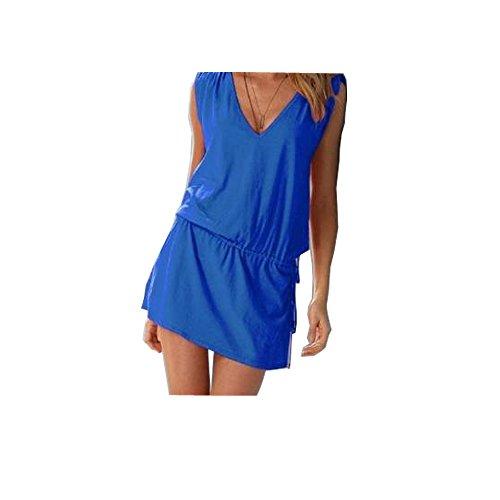 V profond robe robe de plage de l'été des femmes de robe de plage Bleu royal