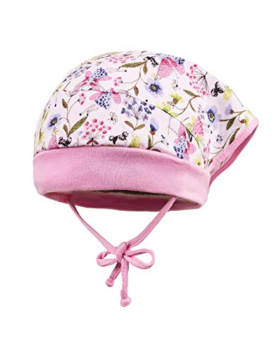 maximo Baby-Mädchen Mütze Kopftuchmütze Mehrfarbig (Weiß-Zartblau-Pink-Fee/Lilac 1859) 45