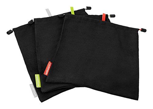 TomTom Microfasertasche (3 Stück, Aufbewahrung und Reinigung des Kamerazubehörs und Halterung, Pflegend, Farbkodiert) schwarz