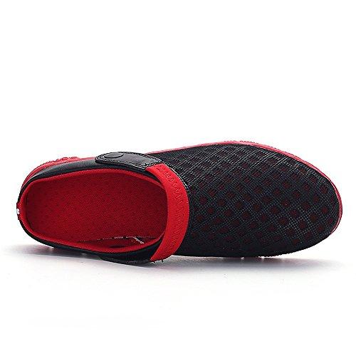 Bwiv ciabatte da spiaggia da donna e uomo zoccoli leggeri con cinturino delle taglie 37-43 Nero con cinturino rosso
