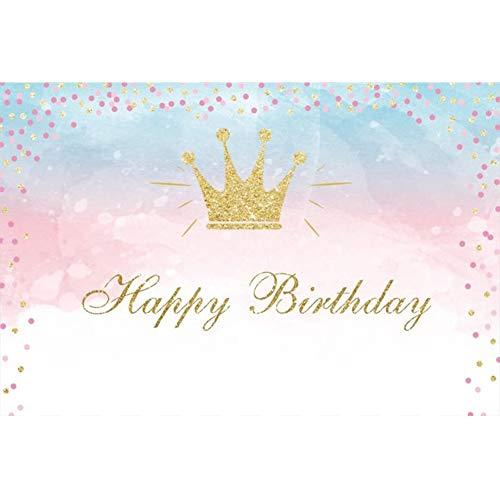 Cassisy 2,2x1,5m Vinyl Geburtstag Fotohintergrund Happy Birthday Banner Gold Crown Pastell Tapete Fotoleinwand Hintergrund für Fotoshoot Fotostudio Requisiten Party Photo Booth