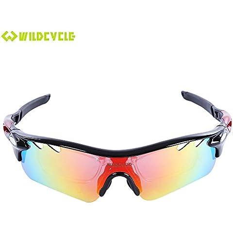 iGarden polarizadas gafas de deporte con 4lentes intercambiables para hombres mujeres ciclismo Golf conducción pesca Running, TR90Unbreakable marco, antivaho, resistente al agua lente, negro