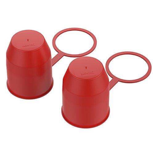 AUPROTEC Schutzkappe Anhängerkupplung mit Sicherungsring Kugelschutzkappe Abdeckkappe mit Schlaufe für Auto Kugelkopf-Kupplung rot 2er-Set