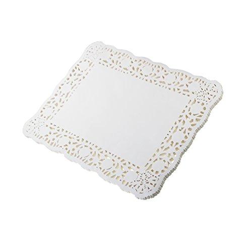 LJY 100 Stück weiß Spitze Rechteck Papier Deckchen Kuchen Verpackung Pads Hochzeit Geschirr Dekoration, weiß, 12 x 16 inch