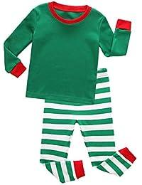 Hibote Pijamas Rayas para Niños Pijamas Navidad para Niñas Vetement Enfant Fille Pijamas Pijamas Navidad para Niños Niñas Homewear