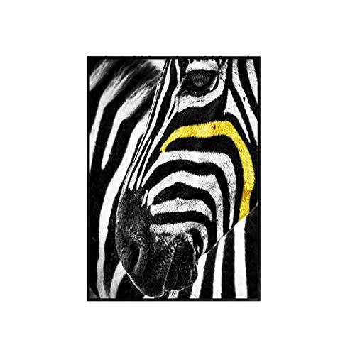 zgmtj Nordic Schwarz und Weiß Gelb Sonnenbrille Mann Linie Bürgersteig Leinwand Malerei Pferd Poster Wandbild Home Wohnzimmer Dekoration