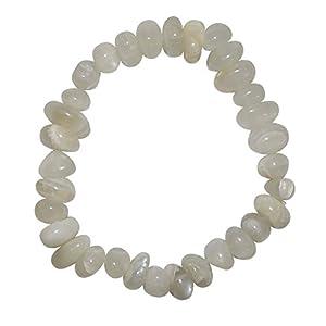 Mondstein natur hell Armband schönes Trommelstein Edelsteinarmband ein echter Hingucker elastisch aufgezogen.(3998)