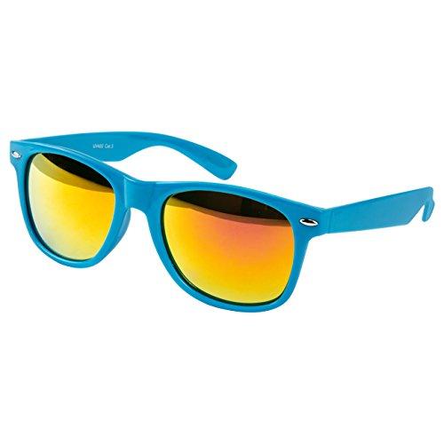 Ciffre Sonnenbrille Nerdbrille Nerd Retro Look Brille Pilotenbrille Vintage Look - ca. 80 verschiedene Modelle Türkis Feuer Verspiegelt