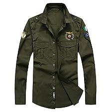 Yvelands-Men Casual Outwear de Manga Larga Rebajas s Bordado Militar Color Puro Pocket T-Shirt Tops