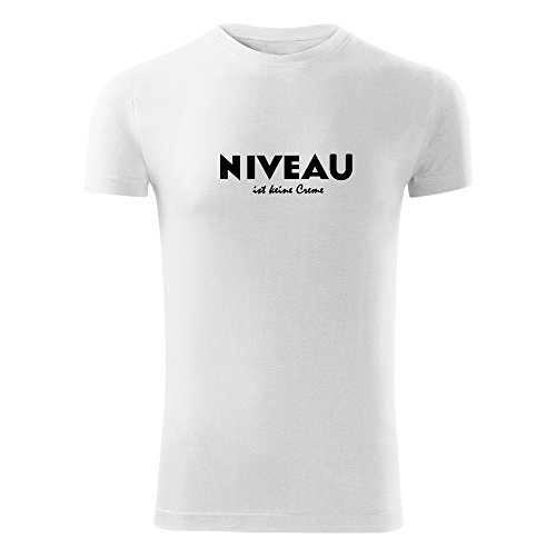 Herren Shirt Niveau ist keine Creme schwarz & weiß Motiv - T-Shirt Poloshirt mit Motiv - Neu S - XXL Weiß