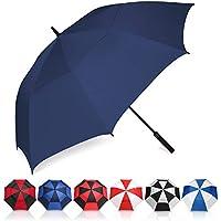 Eono by Amazon - Paraguas de Golf Resistente al Viento con Doble Tela y Sistema de Apertura automático, Paraguas Grande, Large Golf Umbrella, Deportivo, Unisex, Impermeable, 62 Inch, Navy