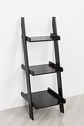 Black Leaning Ladder Shelf with Three Tiers by Sue Ryder