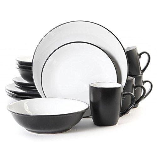 GIBSON Vivendi schwarz und weiß aus Steinzeug Geschirr Set (16Stück) (Gibson Geschirr-sets Weiß)