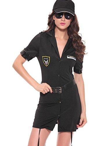 rwachsene Sexy schwarz Convict Gefangener Kostüm-Cops und weibliche Gefangene Halloween-Party-Outfit , 1 (Cop Kostüm Weiblich)