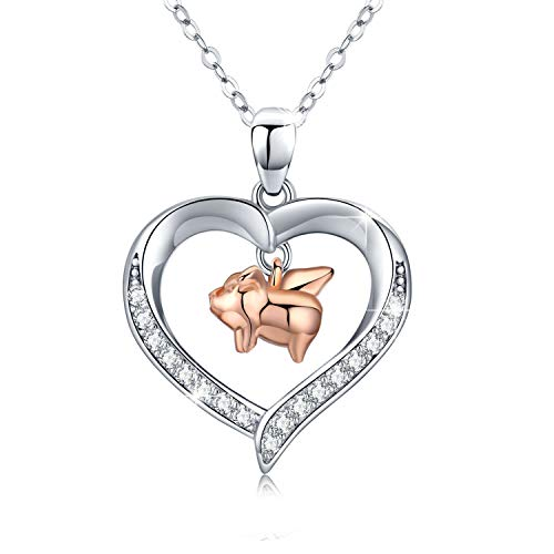 Halskette mit Herz-Anhänger aus 925 Sterling silber Ein Schwein mit Flügeln Mädchen Halskette Geschenke für Frauen (Schweine Haben Flügel)