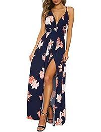 9512985fb3f37b Missy Chilli Damen Partykleid Sexy Blumen V-Ausschnitt Rückenfrei Maxi Lang  Träger Kleid Abendkleid Strandkleid