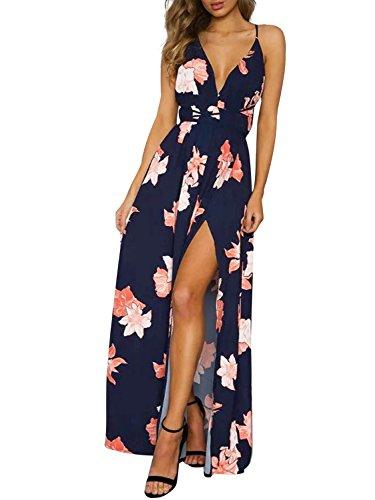 Missy Chilli Damen Partykleid Sexy Blumen V-Ausschnitt Rückenfrei Maxi Lang Träger Kleid...