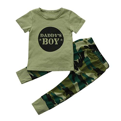 Bekleidung Baby,LMMVP Neugeborene Kleinkind Baby Jungen Buchstabe Tops Tarnungs Hosen Gesetzte Kleidung (100, Camouflage) (Baby-jungen-schnee-hose)