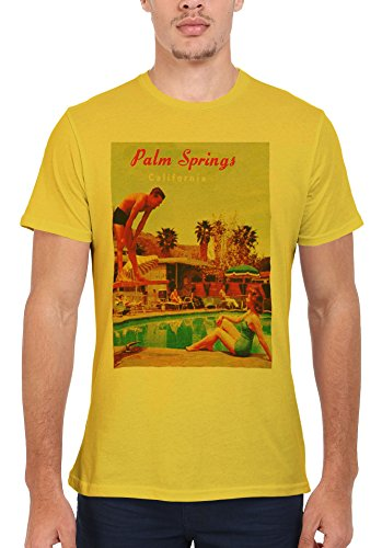California Palm Springs Retro Vintage Men Women Damen Herren Unisex Top T Shirt Licht Gelb