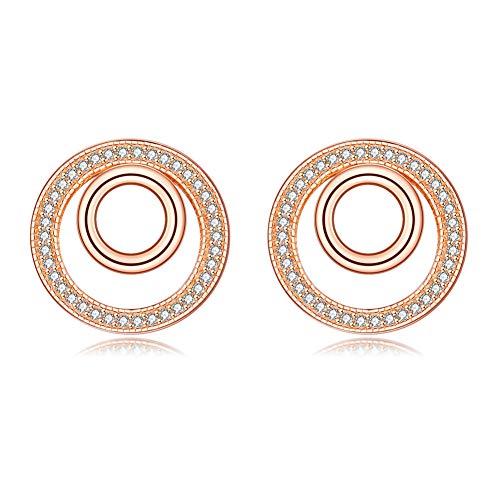 BTOLLA 925 sterline d'argento Donne Orecchini, Oro rosa Double Circle Perno Orecchini con Cubic Zirc