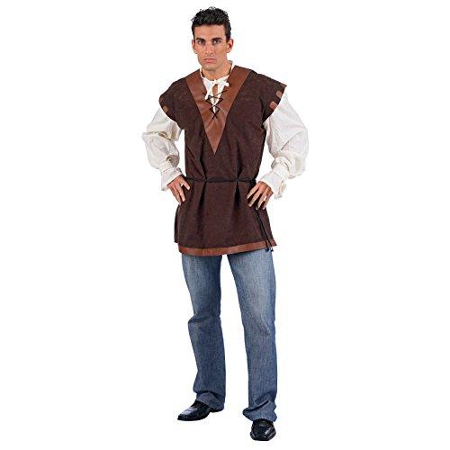 Mittelalter Tunika mit Hemd natur, V-Ausschnitt, Schnürung - (Der Erwachsene Für Kostüme Ritter Edle)