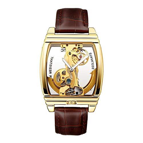 Herren Mechanische Uhr Skeleton Handaufzug Zifferblatt Transparent Quadrat Masculino Gold Casual Business Vintage-Stil Armbanduhr Luxusmarke Lederband Armband Analoge Quarzuhr Armbanduhr