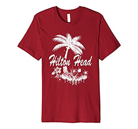 Hilton Head South Carolina Beach & Palm Tree Distressed Tee Herren, Größe 2XL Cranberry