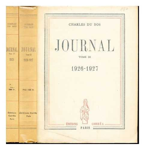 Journal Tome III (1926-1927) and Journal Tome IV (1928): volumes 3 and 4 only