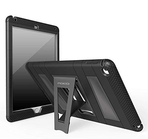MoKo Apple iPad Air 2Hülle-[Standfuß] Strapazierfähiges Hybrid-Silikon + hartes Polycarbonat, Extrem Robust [Dämpfung] mit klappbar Stand-Schutzhülle Cover für iPad 624,6cm Tablet, Schwarz (2 Ipad Cellular Air 64)