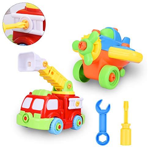 OZUAR 2er Set Montage Spielzeug mit Schraubenzieher Flugzeug Feuerwehrauto Werkzeug Spielzeug DIY Frühe Bildung Spielset Geschenk für Kinder über 3 Jahre (Jahre Alt Halloween Crafts 3)