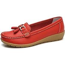 jrenok Zapatos de Primavera Mujer Mocassins Piel Suave Casual Hebilla Confort Zapatos Planas Loafers Antideslizante 35