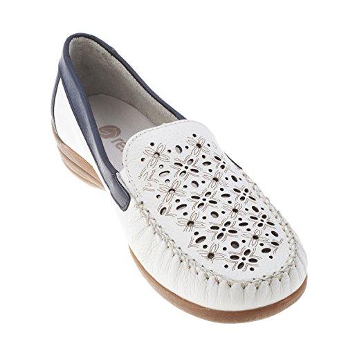 Remonte d621180Dinka (weiß/blau Leder Slip auf Schuh Weiß