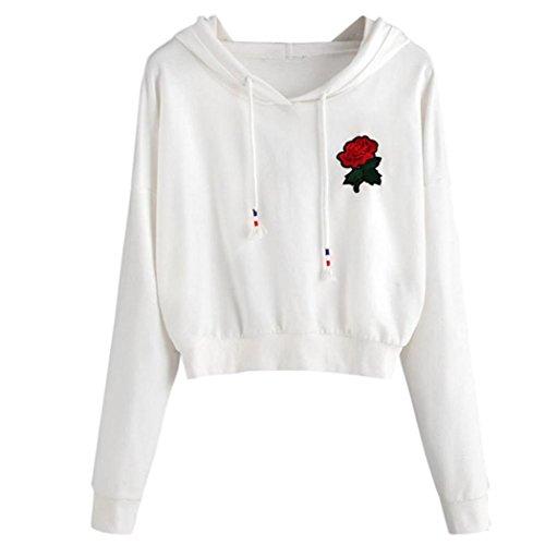 WOCACHI Damen Sommer T-Shirt Mode Frauen reizvolles Rose Appliques Kurzarm O-Neck Bowknot Dekoration Schwarz Bluse Tops T-Shirt (S/34, Weiß-01)