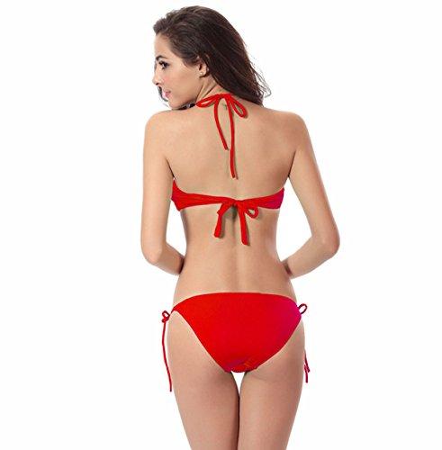 La Signora Del Bikini Sexy Sottile Costume Da Bagno Multicolore Mutandine Red