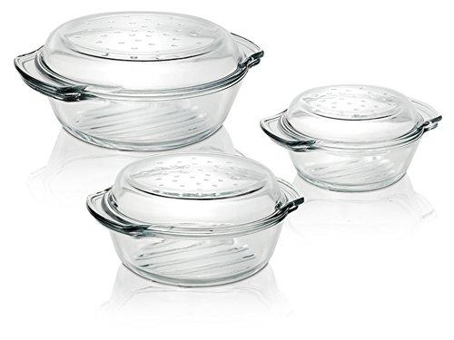 Termisil 6tlg. Glas Auflaufform + Deckel 1,0 + 1,7 + 2,4 Liter Schüssel Terrine Kasserolle Bräter Ofen