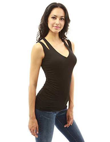 PattyBoutik femmes v cou découpé blouse sans manches Noir