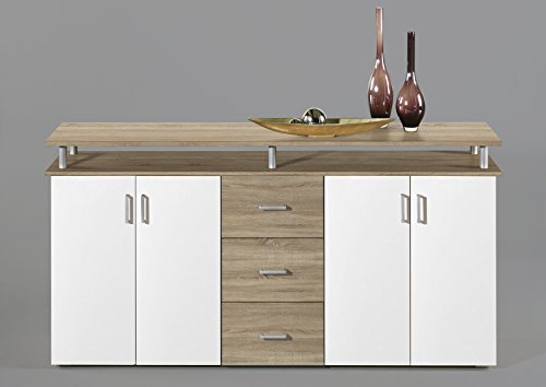 44-334-66 NEU!!! Highboard Kommode Sideboard Eiche Sägerau Dekor / Weiss LIFT...