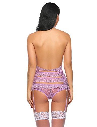Avidlove Damen Erotik Stringbody aus Spitzestoff mit Strumpfhaltergürtel sexy Unterwäsche Dessous Set Brustfrei Neckholder Reizwäsche Violett