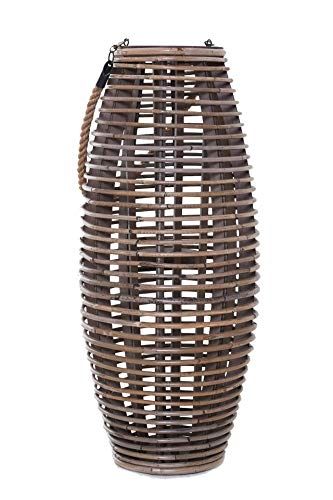 Vivanno Windlicht-Säule Kerzenhalter Laterne aus Rattan LUMA rund, Braun Grau (71x30 cm)