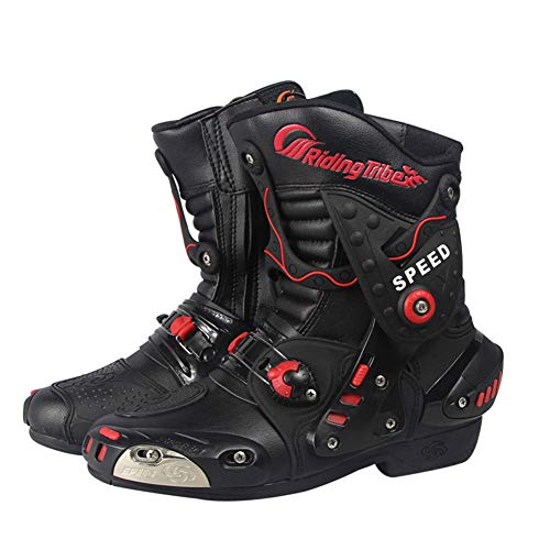 JYY Stivali Corti da Moto Stivali da Corsa su Strada per Motociclisti Cavalieri da Uomo e da Donna Stivali Corti Scarpe da Equitazione per Il Tempo Libero,Black-EU44