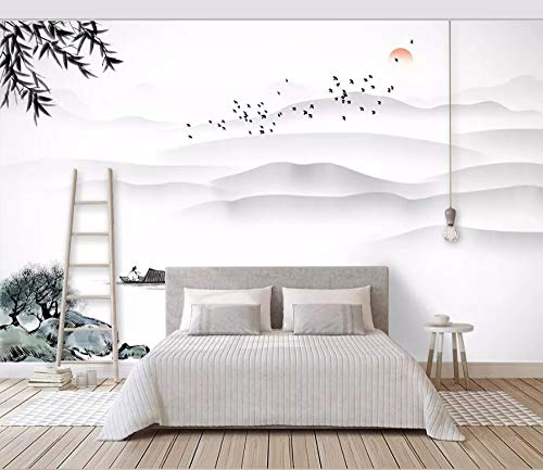Fototapete 3D Effekt Tapete Wolken Berge Wasser Vögel Roter Tag Vliestapete 3D Wallpaper Moderne Wanddeko Wandbilder