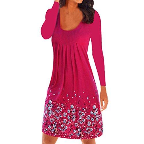 (OverDose Damen Sommer Herbst Freizeit Kleid Frauen Beiläufige Blumen Bedruckte Lose Rüsche Falten Knie Länge Kleid Strandkleid T Shirt Kleid Oberteile Bluse (Hot Red,S))