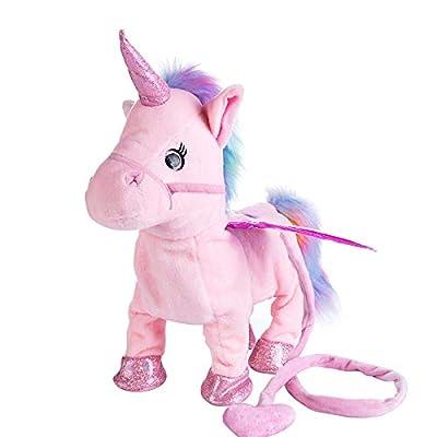 MSAI Unicorn Plush Toys Singing Walking Electronic Pet Pegasus Robot Horses Stuffed Animal Musical Pony Soft Toy Gift for Baby Toddlers Kids Battery Powered