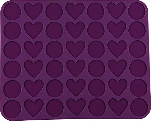 """Dr. Oetker Silikon-Macaronmatte \""""Herzen & Kreise\"""" 42er, Silikonmatte zur Herstellung von Macarons in Herz- und Kreisform, hervoragende Antihafteigenschaften - spülmaschinengeeignet (Farbe: Lila), Menge: 1 Stück"""
