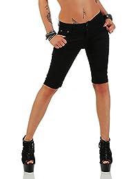 11195 Fashion4Young Damen Caprihose Bermudas Sommerhose Freizeithose Capri Chino Hose