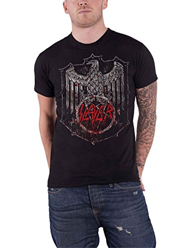Slayer Shirt Bloody Shield Eagle Distressed Band Logo Offiziell Herren Nue (Eagle Slayer)